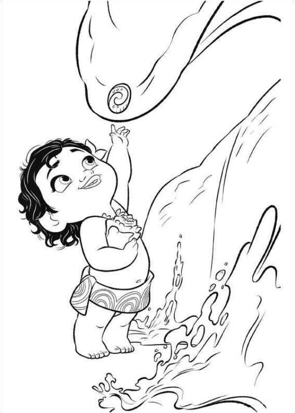 Coloriage bébé Moana