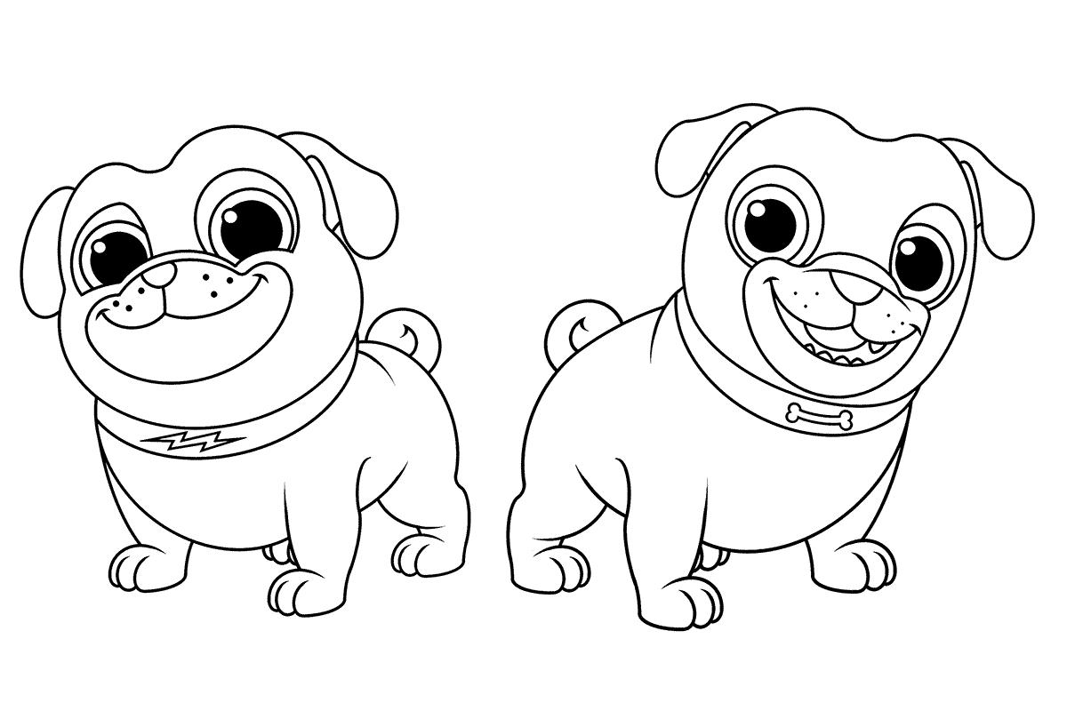 Coloriage chiot et chien
