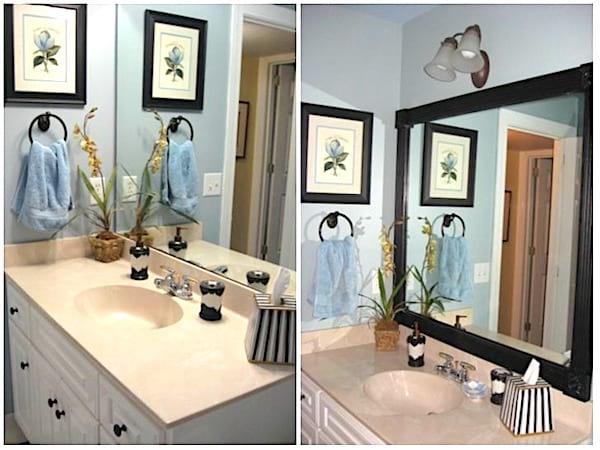 Ajoutez un cadre à votre miroir pour une salle de bain plus chic
