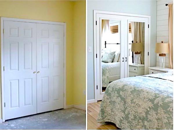 Ajoutez un miroir sur une porte pour agrandir une pièce