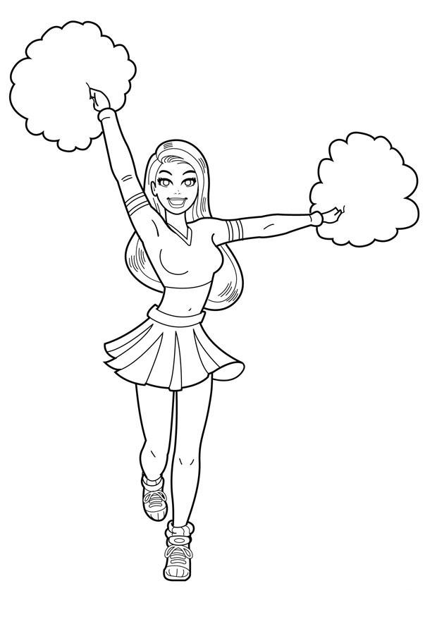 Coloriage pom-pom girl à imprimer