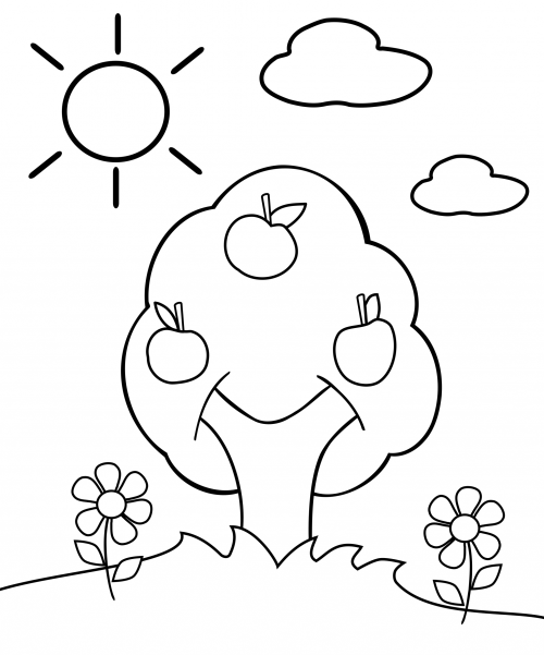 Coloriage Johnny Appleseed Apple Tree