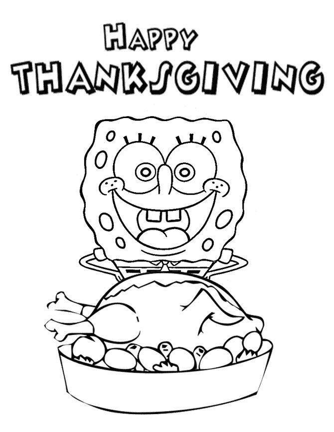 Coloriage de Spongebob Happy Thanksgiving