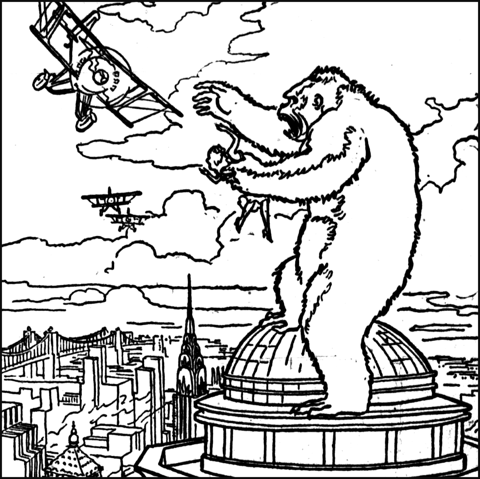 King Kong Empire State Building Scene Coloring Pages