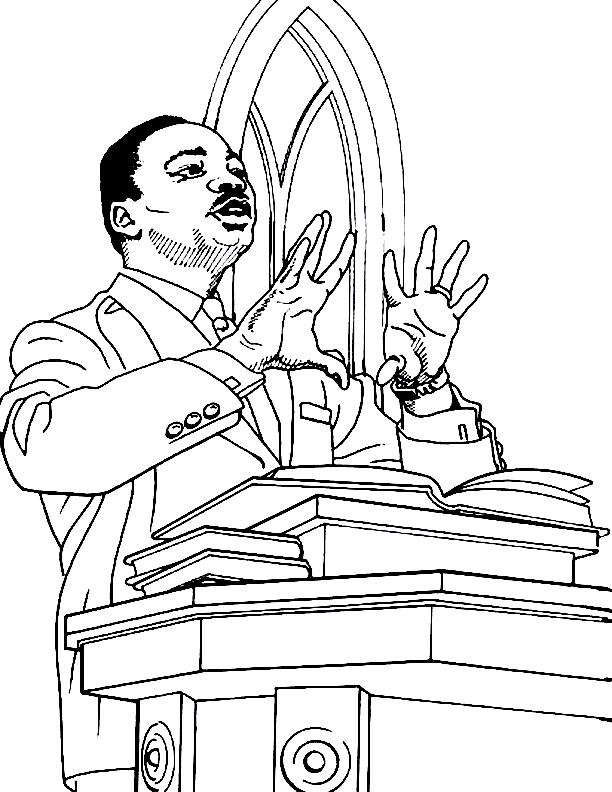 Coloriage Martin Luther King Sermon