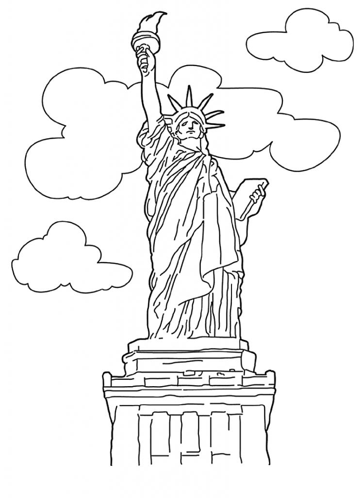 Coloriage gratuit de la statue de la liberté