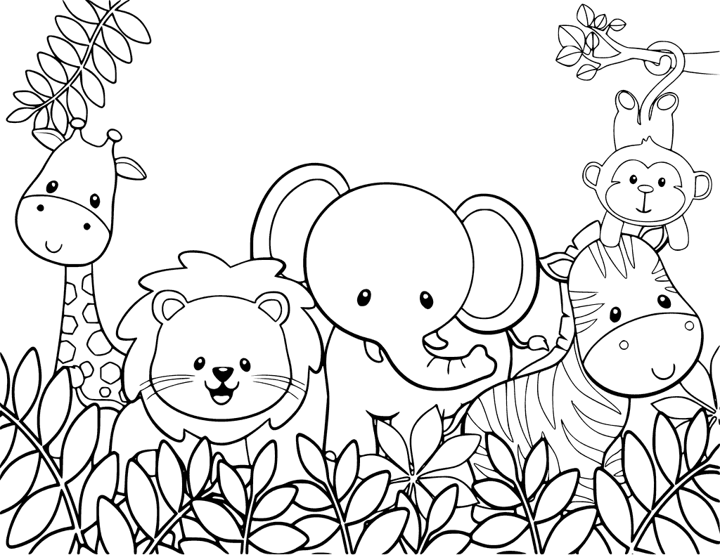 Coloriage animaux de la jungle
