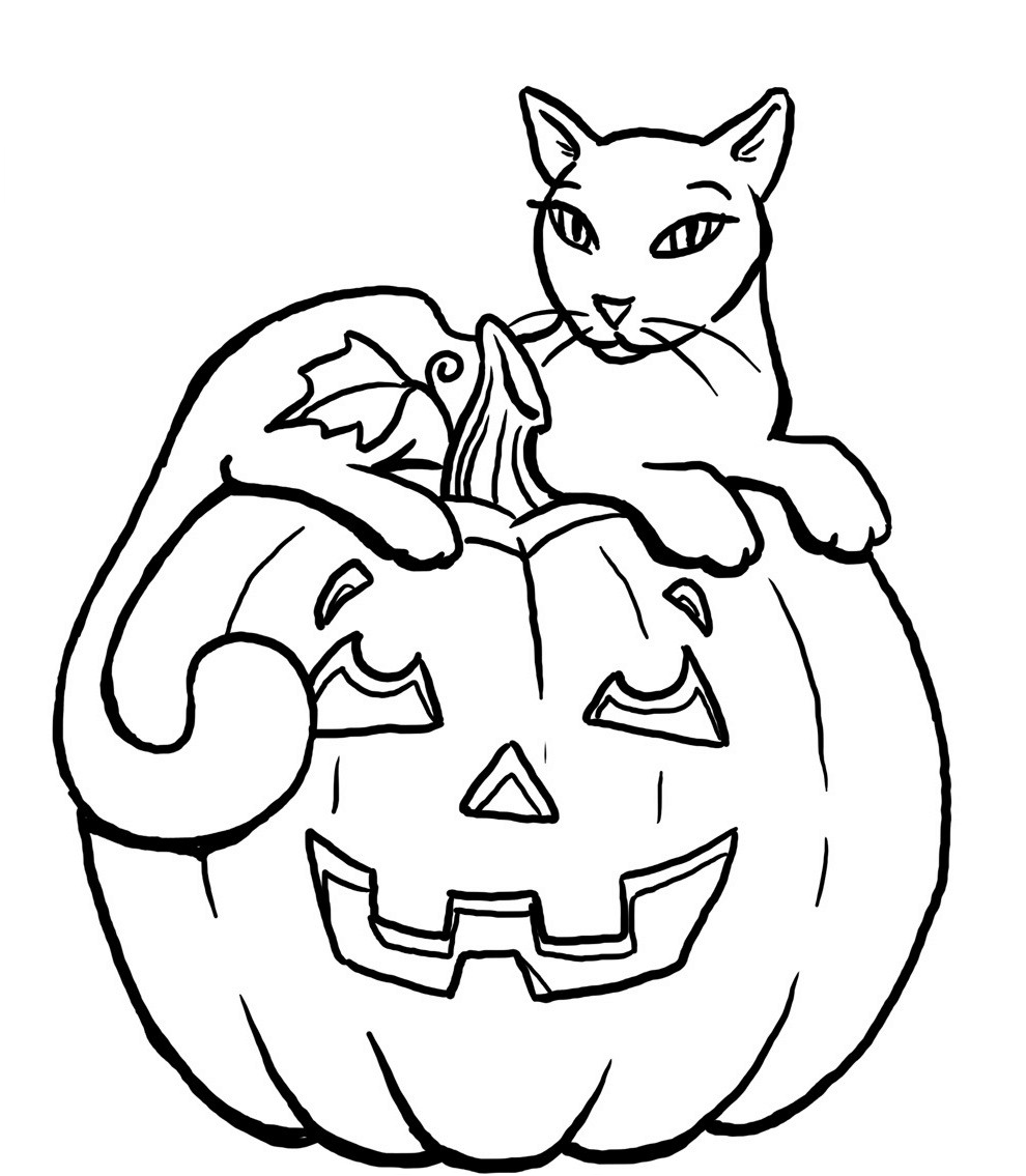 Coloriage chat d'Halloween
