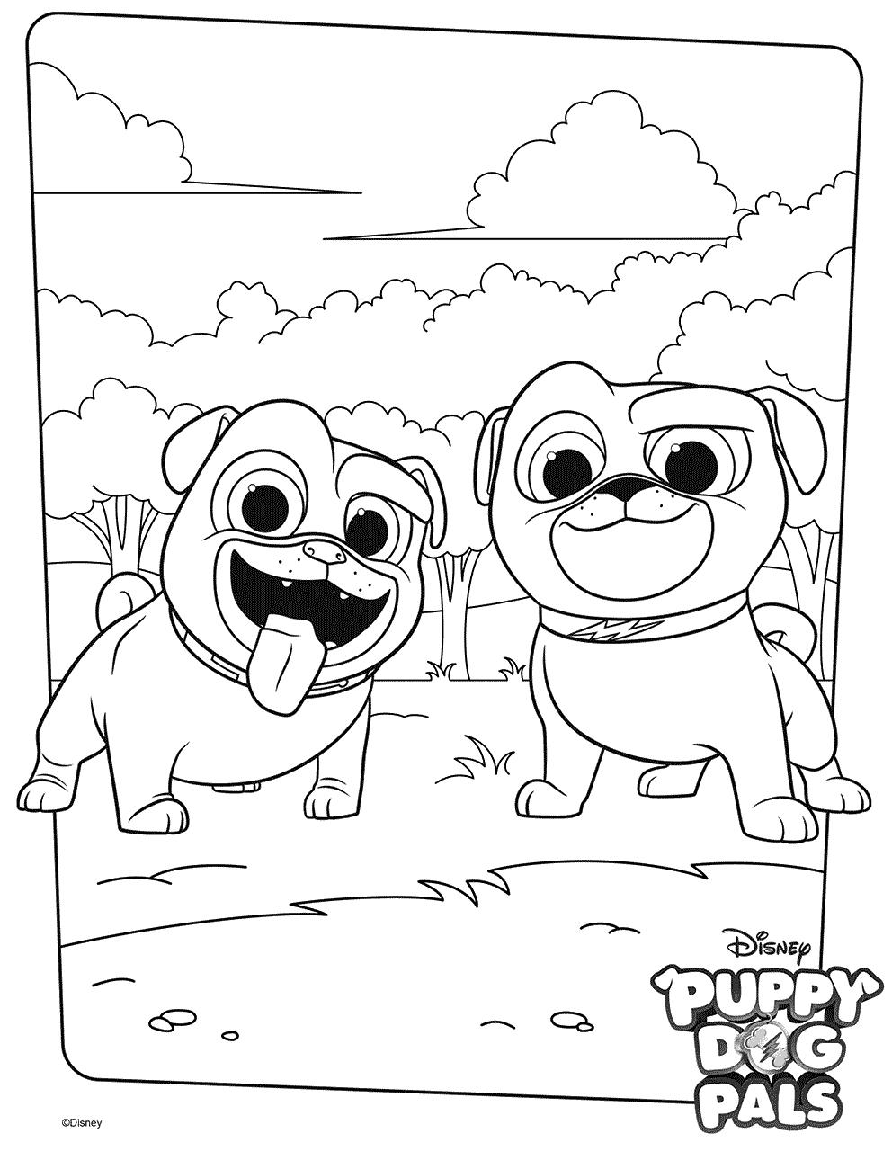 Coloriage Bingo et Rolly Puppy Dog Pals