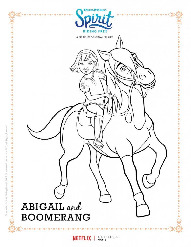 Coloriage Abigail et Boomerang Spirit