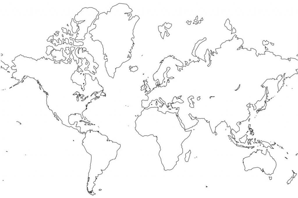 Coloriage de la carte du monde
