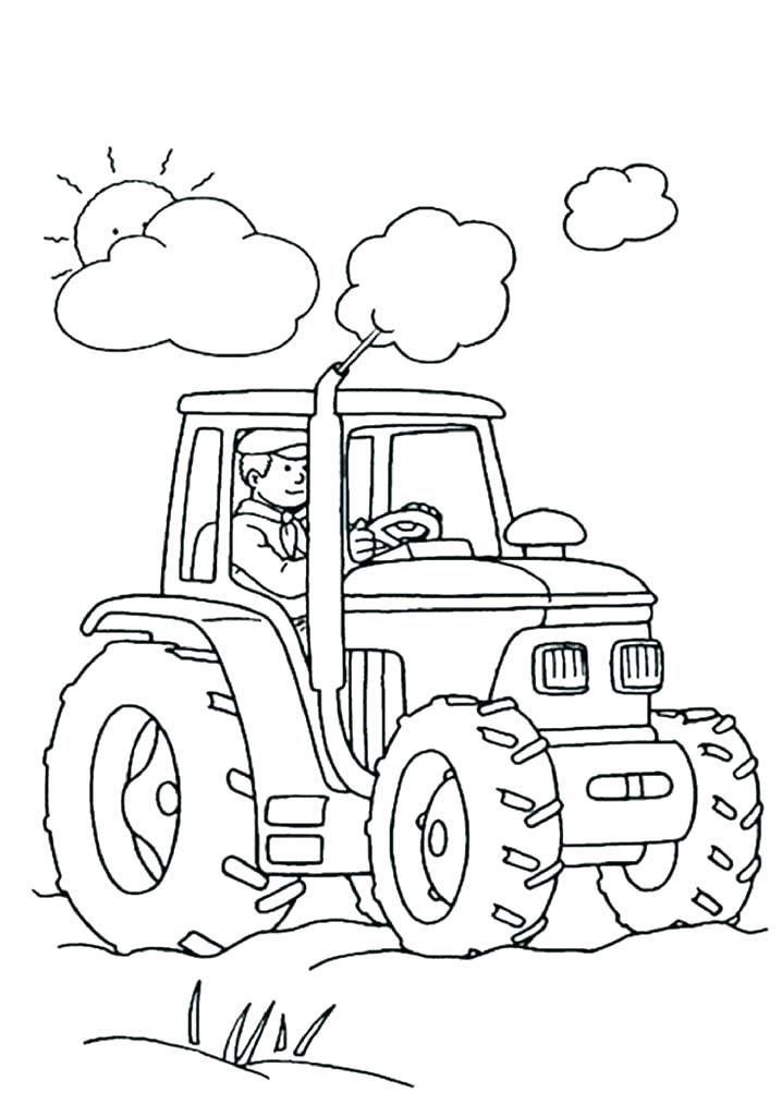 Coloriage de tracteur de ferme