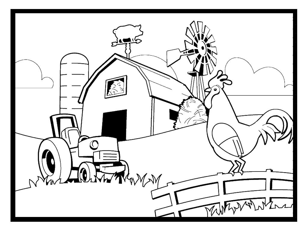 Coloriage de scène de ferme