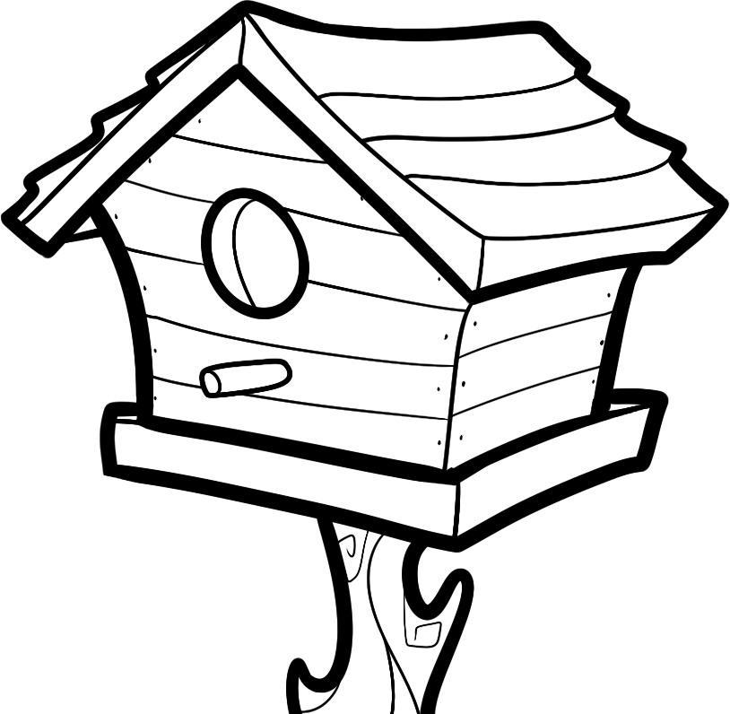 Coloriage maison d'oiseau