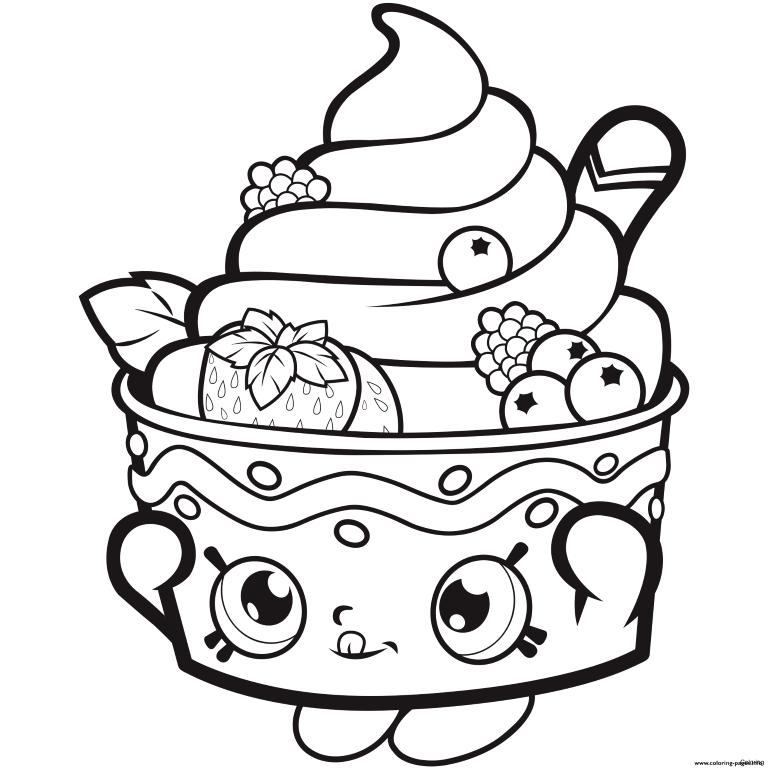 Coloriage de fraises sundae shoppie
