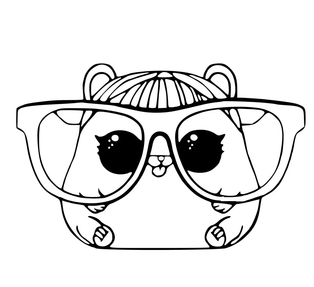 Coloriage hamster avec de grandes lunettes