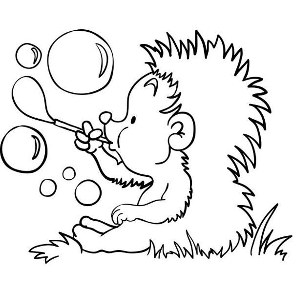 Hérisson soufflant des bulles à colorier
