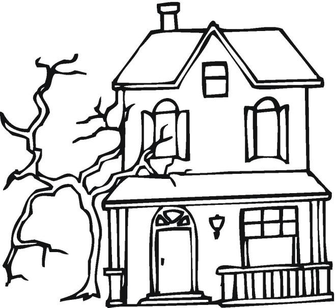 Coloriage gratuit de la maison hantée