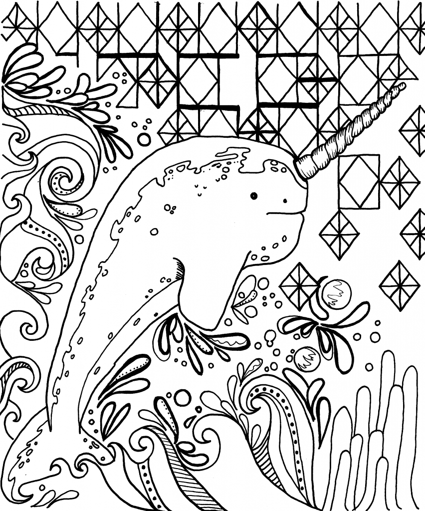 Coloriage narval cool