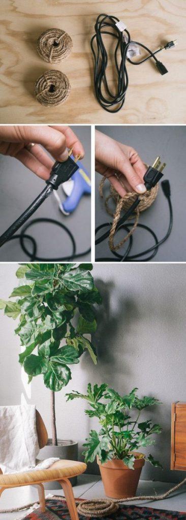 Enroulez une jolie ficelle ou une corde autour de vos câbles