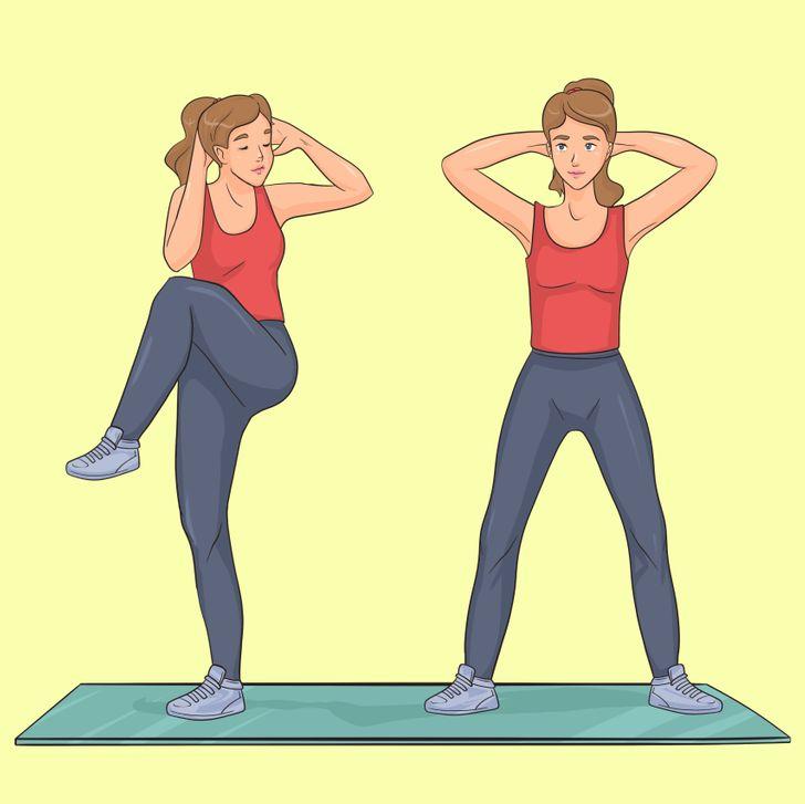 Exercice de crunch à l'arrêt et croisé