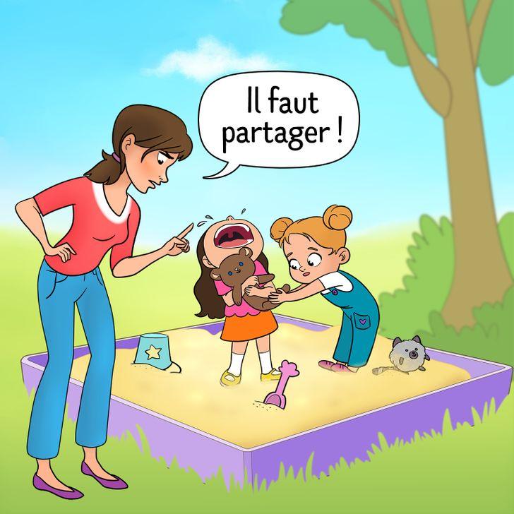 Forcer l'enfant à partager ses affaires