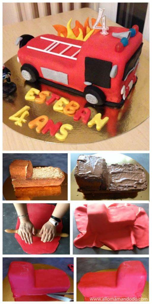 Gâteau camion de pompiers