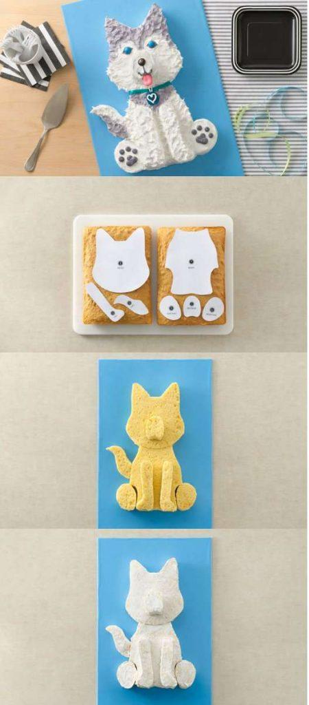 Gâteau chien Husky avec deux gâteaux rectangulaires