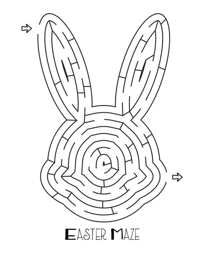 Labyrinthe de tête de lapin de Pâques