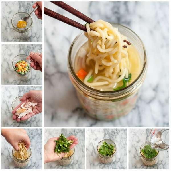 Nouilles instantanées dans un pot en verre Soupe instantanée au curry et lait de coco (il suffit d'y ajouter de l'eau chaude)