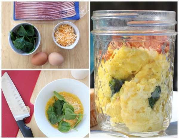 Omelette dans un pot en verre