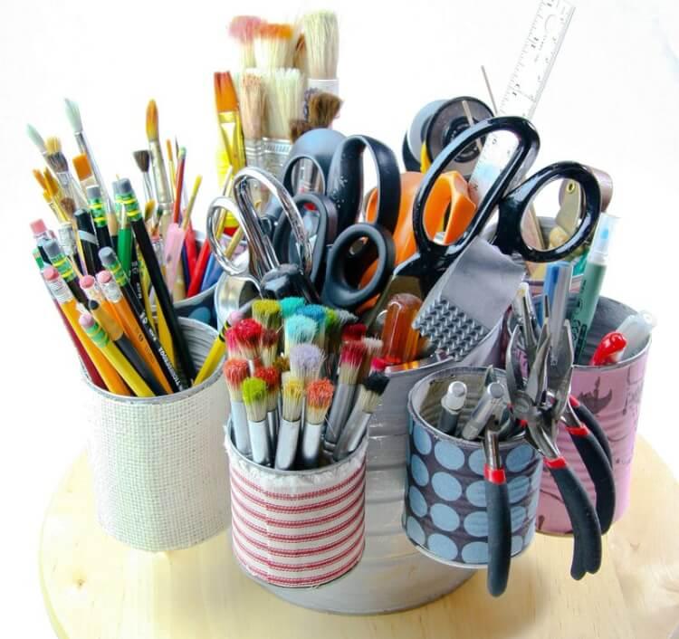 Recyclez vos conserves pour y ranger vos fournitures