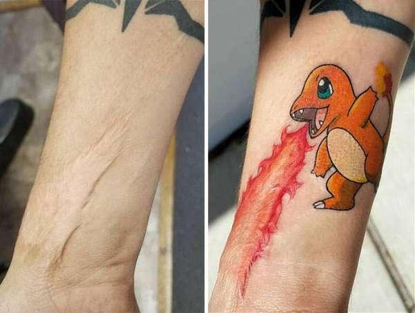 Tatouage Salamèche crachant du feu pour camoufler cette cicatrice