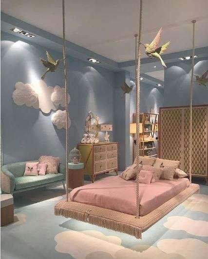Un lit suspendu façon balançoire pour votre petite princesse