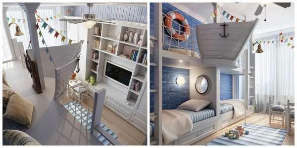 Une chambre avec un gouvernail pour votre petit marin