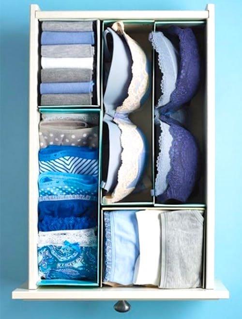 Utilisez des couvercles de boîte à chaussures pour organiser les tiroirs