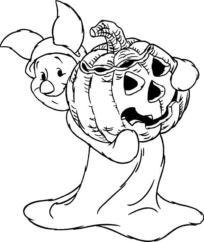 Porcinet en costume d'Halloween à colorier