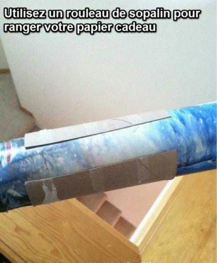 Astuce pour ranger les rouleaux de papier cadeau