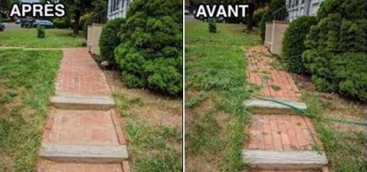Avant et après utiliser le désherbant maison au vinaigre blanc