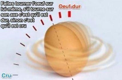 reconnaître un œuf cru d'un œuf dur à tous les coups